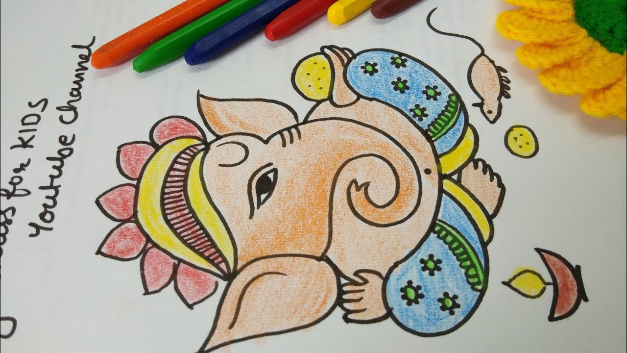 Ganpati Drawing And Color How To Draw Ganesha And Color Simple