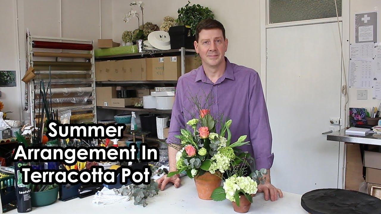 Mixed Floral Summer Arrangement In Terracotta Pot Youtube