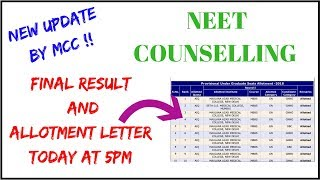 UPDATE - NEW RESULT of COUNSELLING Neet 2018, Neet 2018 counselling