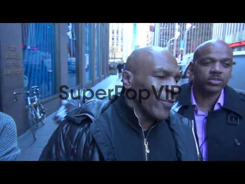 Mike Tyson with fans at the McGraw-Hill Building at Celeb...