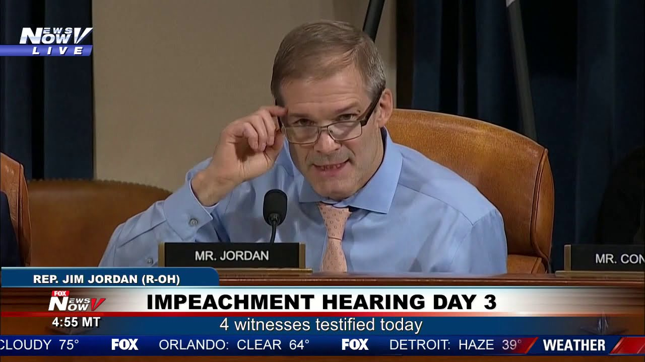 """THE DEMOCRATS ARE OUT TO GET THIS PRESIDENT"" Jim Jordan on impeachment hearing day 3"