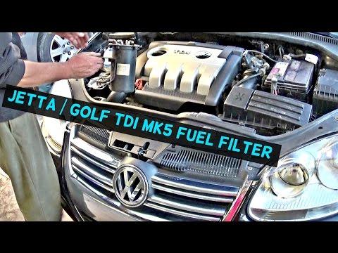 VW JETTA TDI MK5 DIESEL FUEL FILTER REPLACEMENT VW GOLF TDI