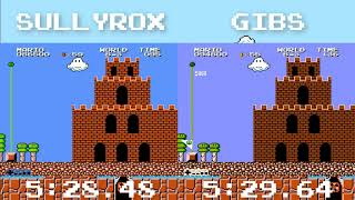 TAS Comparison: All Night Nippon Super Mario Bros. sullyrox 5:28.48 VS. Gibs 5:29.64