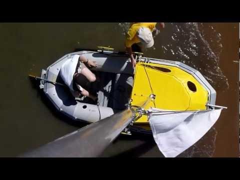 Intex Mariner 4 homemade inflatable dinghy cabin sail boat aufblasbares Segelboot
