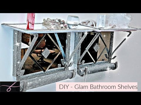 DIY Dollar Tree Bathroom Glam Mirror Shelves 💎 Home Decor - EASY - Organizing Idea - 2018