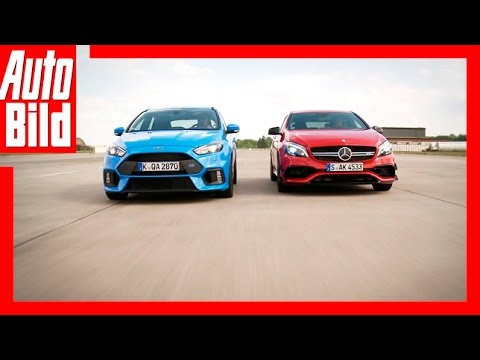 Drag Race Mercedes-AMG A 45 vs Ford Focus RS Review / Sound / 1/4 Meile Rennen