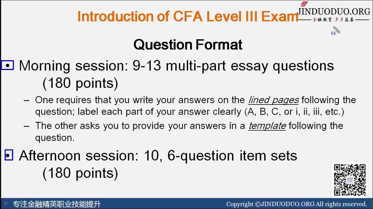 cfa level 3 past essay exams Exam structure and timing the level iii exam consists of item set and  constructed response (essay) questions: morning session: constructed response  (essay).