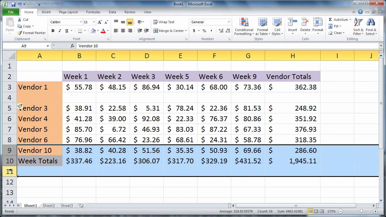 Adding multiple rows in Microsoft Excel