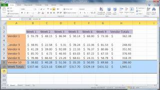 Excel 2010 - Insert Rows and Columns