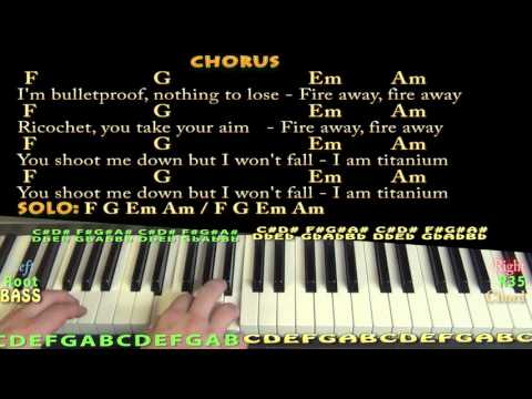 Titanium (David Guetta) Piano Cover Lesson In C With Chords/Lyrics