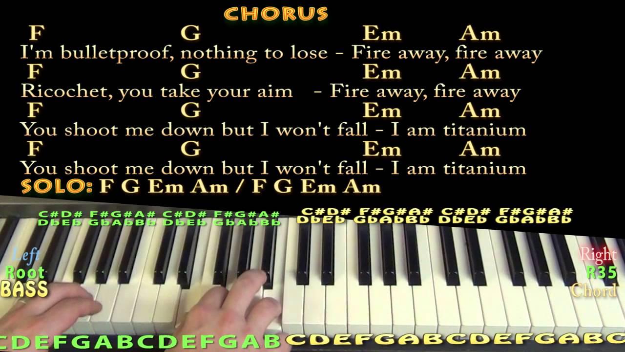Titanium David Guetta Piano Cover Lesson In C With Chordslyrics