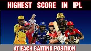 HIGHEST SCORE IN IPL | AT EACH BATTING POSITION