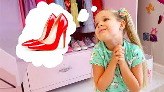 Diana wears Mom's shoes