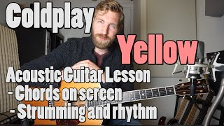 Download lagu Coldplay - Yellow | Acoustic Guitar tutorial | Official chords + Rhythm
