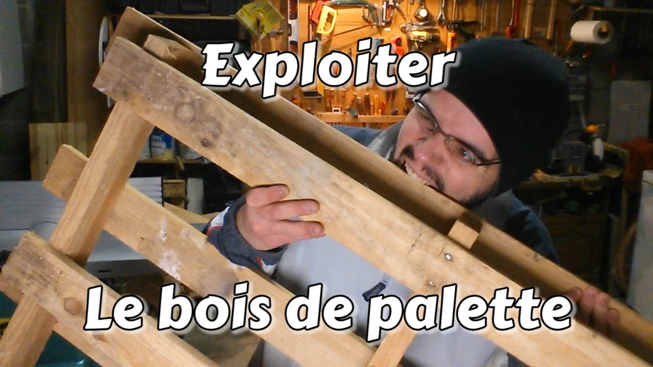 astuce bricolage exploiter le bois de palette youtube. Black Bedroom Furniture Sets. Home Design Ideas