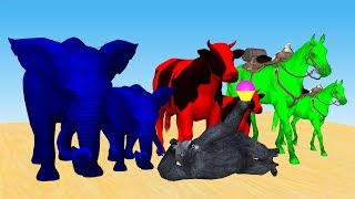 Learn Colors with mother animals baby animals Eating Ice Cream Form Gorilla's Shop Cartoon for Kids.