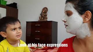 My Son39s Reaction to Face Pack  Cabin Crew Day off  Mamta Sachdeva  Aviation  Travel  Hindi