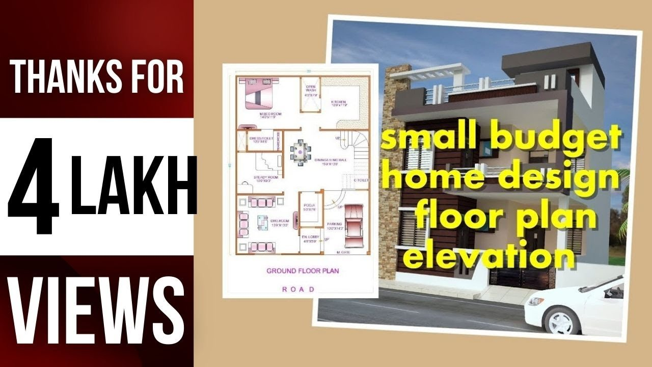 small budget home design 1200 sq ft | 30.40 | floor plan | elevation ...
