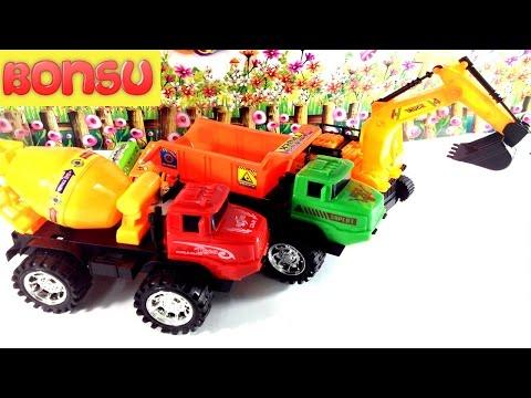 Đồ Chơi Thông Minh|Chị Cầu Vồng Mở Hộp Đồ Chơi Xe Ô Tô Cần Cẩu Cho Trẻ Em Toy Car Excavator For Kids