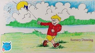 Easy Kite Flying Drawing