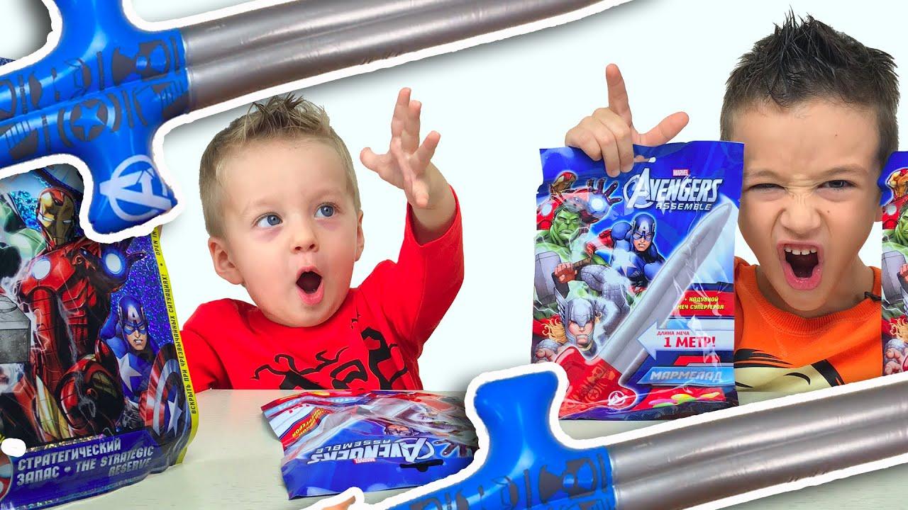 Мечи Супер Героев. Открываем пакеты Мстители Avengers Видео для детей Надувные Игрушки