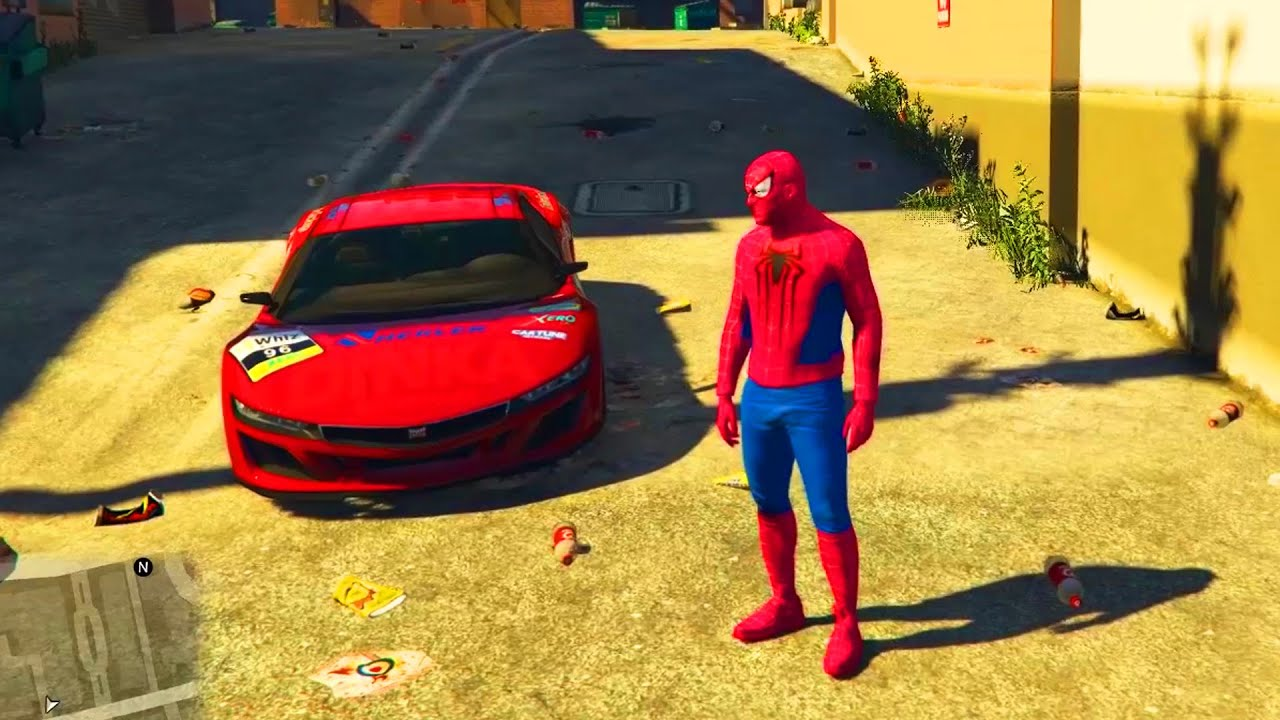 Spiderman conduit voiture sportive et moto youtube - Spiderman voiture ...
