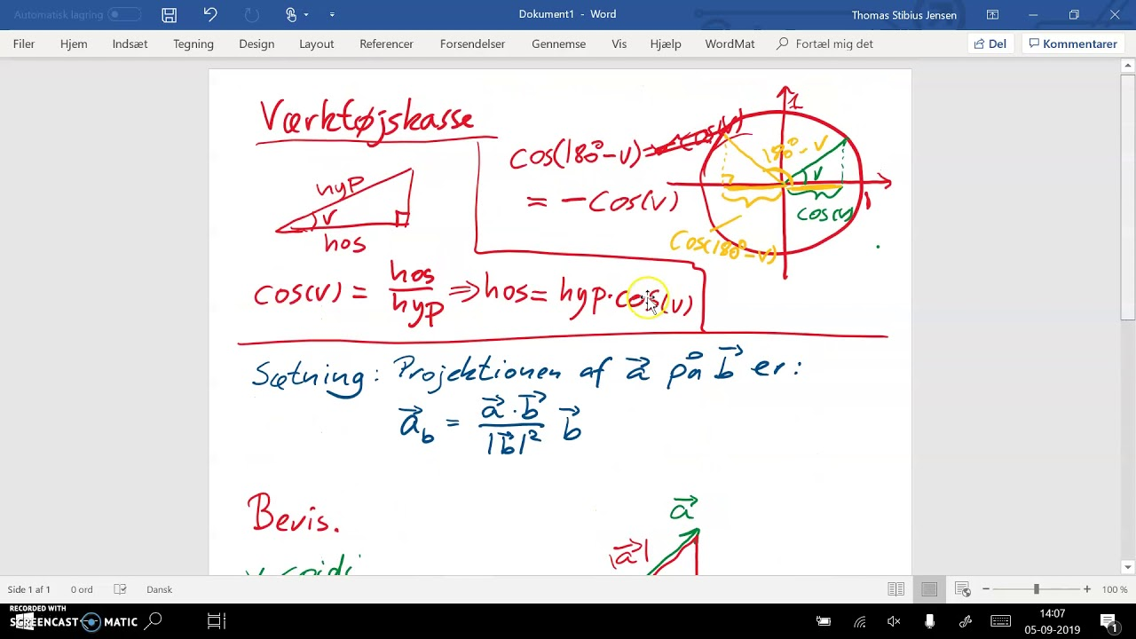 Sætning 6.13: Projektion af vektor på vektor. Bevis - del 2. Spids vinkel
