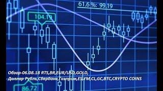 Обзор-06.08.18 RTS,BR,EUR/USD,GOLD, Доллар Рубль,Сбербанк,Газпром,ES,YM,CL,GC,BTC,CRYPTO COINS