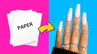 "DIY - HOW TO MAKE WATERPROOF FAKE NAILS FROM ""PAPER"" AT HOME - NAIL HACK"