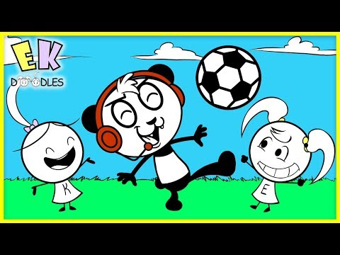 COMBO PANDA teaches Emma & Kate Soccer! Funny Cute Animation for Kids