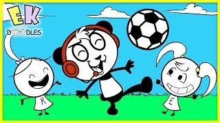 COMBO PANDA teaches Emma & Kate Soccer! Funny Cute Animation for Kids