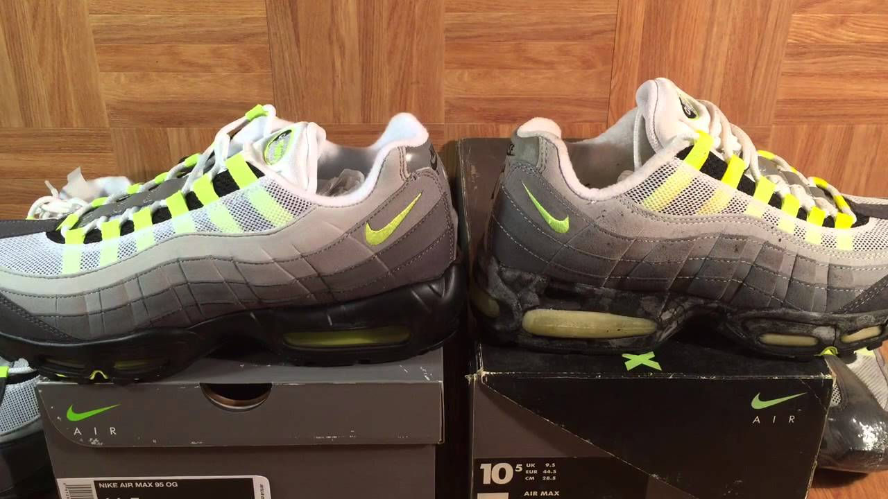 best website f12c0 2a34f ShoeZeum Comparing OG 1995 Nike Air Max 95s With