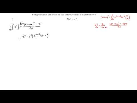 Limit Definition of the Derivative to find f'x of fx=x^n