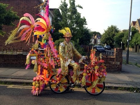 """""""The Golden Man of Wimbledon"""", London, U.K. with his bicycle. March 2013. """"fantasycycle@gmail.com"""""""