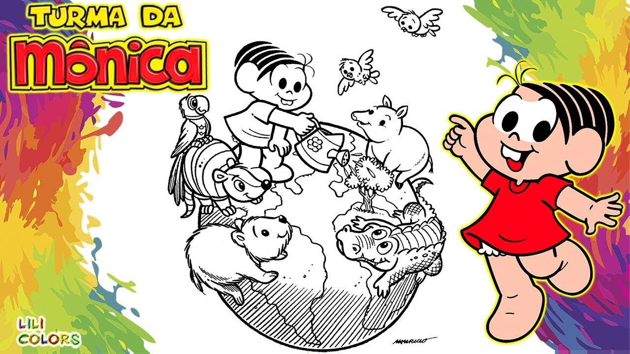 Pintar Turma Da Monica Cuidando Do Planeta Terra Desenho Infantil