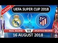 Schedule UEFA SUPER CUP 2018 Real Madrid VS Atletico Madrid 16 August 2018