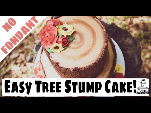 tree-stump-wedding-cake-w/-buttercream---tree-trunk-and-bark-effect