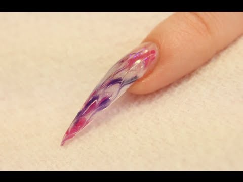 Marble Nails Stiletto UV Gel Nail Nail Art Tutorial by Naio Nails