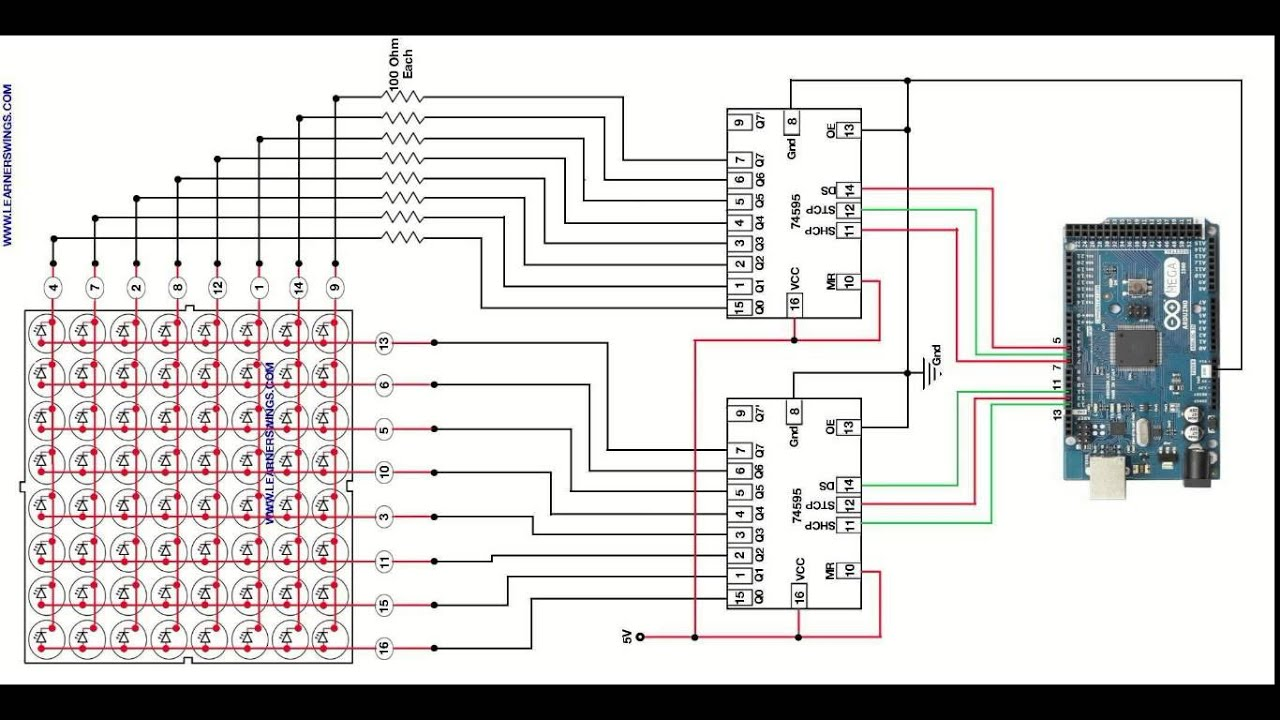 Led Matrix Circuit Diagram Trusted Wiring Pdf Cube Controller 5x5x5 Efficient Method To Control 88 Using Shift Register Ic I2c