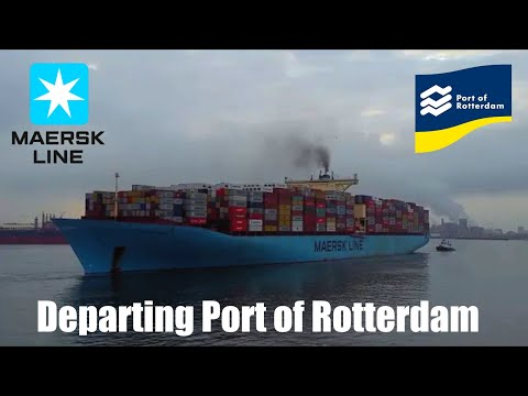 Maersk  Line Container Ship Departing Rotterdam