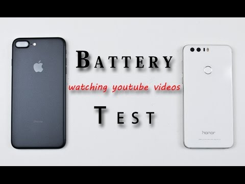 iPhone 7 Plus vs Huawei Honor 8 , Battery Life Test Comparison Review!  (watching youtube videos)