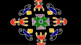 Diwali special diya rangoli design with 15*1dots   Muggulu   Diaya kolam   Rangoli design   Kolam  