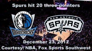 Quick Highlights - Spurs hit 20 three-pointers vs. Dallas (December 23, 2012)