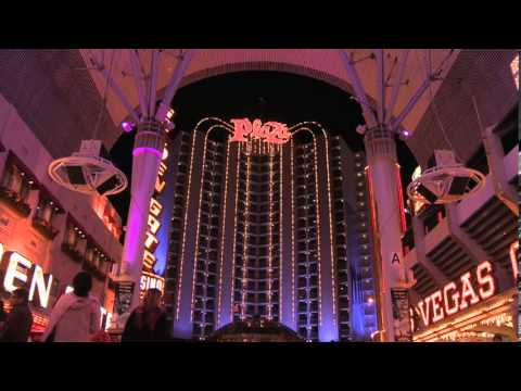 Plaza Hotel and Casino Las Vegas Downtown at Night on the Fremont Street Experience FSE Nevada NV