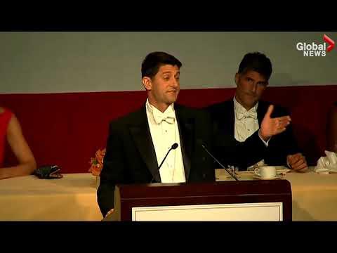 Paul Ryan roasts president Trump