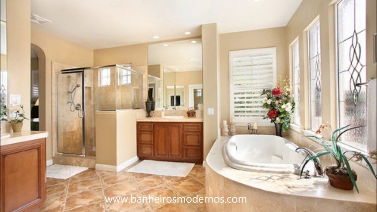 Inspirese nos modelos de banheiros com banheiras  YouTube -> Fotos De Banheiro Com Banheira Simples