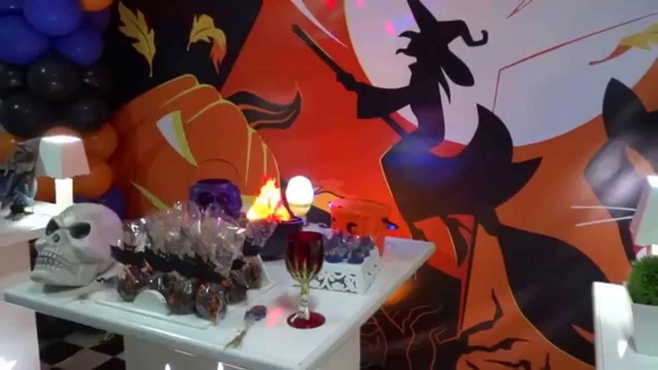 Tema Halloween Mesa decorativa provençal para festa de aniversário infantil YouTube -> Decoração De Festas De Halloween