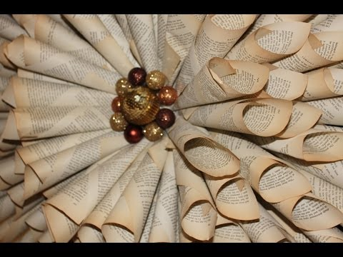How to make your own Christmas Wreath - Vintage book paper decorations