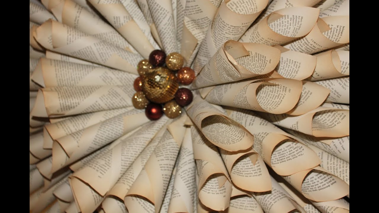 How to make your own Christmas Wreath - Vintage book paper ...