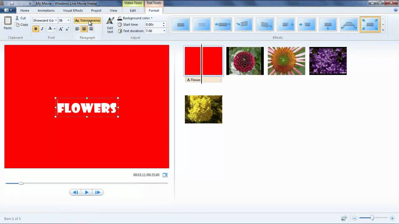 windows movie maker diapo/slideshow